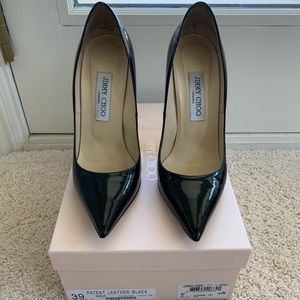 Jimmy Choo black patent leather stilettos